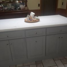 Kitchen Island Without Countertop, Grey Kitchen Island, Grey Cabinets, White Kitchen Cabinets, Granite Overlay, Carrara Quartz, Touch Up Paint, Grey Kitchens, Wooden Tops