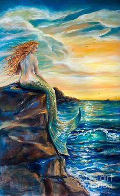 Mermaid Artwork, Mermaid Drawings, Mermaid Paintings, Mermaid Prints, Mermaid Canvas, Fantasy Creatures, Mythical Creatures, Sea Creatures, Mermaid Fairy