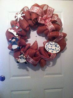 Snowman Tumbling Christmas Mesh Wreath by ElsiesCreativeDesign
