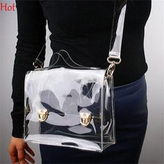 Outdoor PVC Transparent Bags Women Shoulder Box Bag Waterproof Crossbody Women Messenger Bags Clear Phone Clutch Bags…