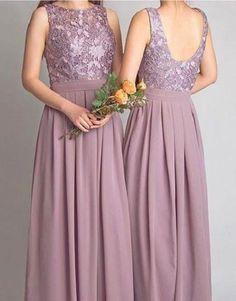 A-line Cowl Neck Sleeveless Lace Bodice Floor Length Cameo Chiffon Bridesmaid Dresses,Long Wedding Party Dresses
