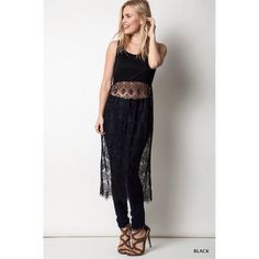 """Morgana"" Long Top With A Lace Skirt Long tank top with a beautiful long lace bottom. Looks amazing with all pants, leggings and denim. Brand new without tags. Absolutely no trades. True to size. Bare Anthology Tops"