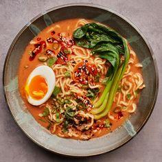 Vegetarian Ramen Recipe | Bon Appétit Vegetarian Ramen Recipe, Ramen Recipes, Healthy Soup Recipes, New Recipes, Veggie Recipes, Vegan Food, Asian Recipes, Veggie Dinners, Weeknight Recipes