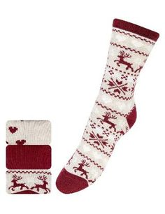 3 Pairs of Cotton Rich Fair Isle Reindeer Ankle High Socks - Marks & Spencer