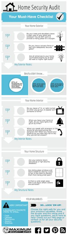 Home Security Audit Checklist - Make sure your home is secure! | @Piktochart Infographic