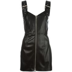 Givenchy buckle strap mini dress (3,580 BAM) ❤ liked on Polyvore featuring dresses, black, draped mini dress, zip front dress, sweetheart neckline short dress, givenchy dress and open back dresses