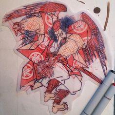 KARASU TENGU drawing by ICHIBAY!!!#ichibay #ichibaytattoo #tokyothreetides#ichibay3tides Japanese Tattoo Art, Japanese Art, Tengu Tattoo, Oriental, Japanese Folklore, Kuniyoshi, Irezumi, Japanese Prints, Tattoo Inspiration