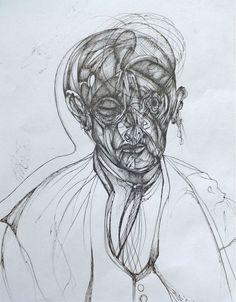 Indiana Castillo. Retrato del tío Noto. Tinta china/papel, 22.9 x 30.5 cm. $1,450 mx