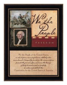 """The Craft Room ST7819SH We The People, Hardwood Shaker Framed and Textured Two Part Wall Art by The Craft Room. $22.85. From the Manufacturer                """"We The People"""" is an inspirational two part framed artwork with an attractive black hardwood Shaker frame. This artwork features a Patriotic collage of George Washington images and designs  on the top half of the presentation. The bottom portion of the piece presents a script of the Preamble to the Constitutio..."""