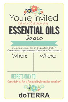 4x6 doTERRA class invitation INSTANT DOWNLOAD  PRINTABLE invite people to your doTERRA class with style!