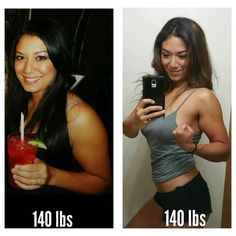 Meet @madlymish: I went from a size 9 to a size 2/4 and stayed the same weight. How is that possible? I basically changed my body's composition by losing fat and gaining muscle. That's why you shouldn't be so hung up on hitting a certain number or giving up on your fitness journey because the scale hasn't budged fatlossnotweightloss.  I've never been overweight but I had a high bf % & was definitely more squishy . I have a HUGE appetite and I love sweets and eating out but over the past…