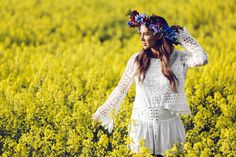 mid summer rapeseed flower white crochet wreath