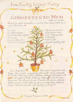 "♥ Susan Branch ~ From Country Living's Pantry ~ Gingerbread Men ~ A collector of Susan Branch, Heidi recalls on her blog ""Gold Country Girls"" that she saved the magazine's pages that featured Susan's artwork and recipes. ♥"