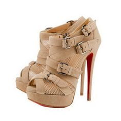 Christian Louboutin Mad Marta Peep Toe Boots Beige...to cute