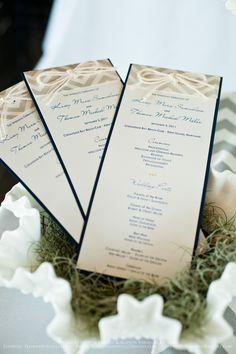Chevron wedding program with rope bow at top; www.allisonbarnhilldesigns.com