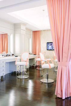 I would love to work in a place designed lilke this!!   Shop Talk: Blushington -photographed by Tim Melideo