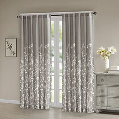 Madison Park Tunisia Panel Window Curtain in Grey - Olliix your room with the Madison Park Tunisia Window Curtain. An alluring motif of delicate vines is printed on slub textured fabric for an organic look and natural feel. Living Room Decor Curtains, Home Curtains, Panel Curtains, Bedroom Decor, Curtains For Windows, Curtains With Grey Walls, Bedroom Window Curtains, Curtain Ideas For Living Room, Window Treatments Living Room Curtains