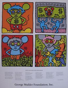 KEITH HARING: GEORGE MULDER FOUNDATION, RARE, SILKSCREEN POSTER, 1986  ARTIST: Keith Haring(1958-1990) TEXT:HENRY GELDZAHLER(1935-1994)