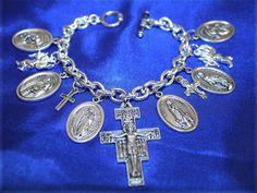 Religious Saint Medal San Damiano Charm Bracelet 2f by faithsymbol, $15.99