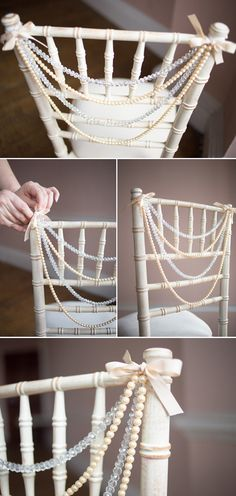 elegant pearls decorated wedding chair ideas