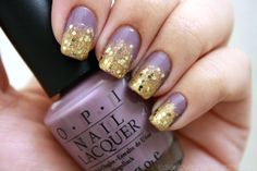 great color blocking!  purple and gold glitter ombre nails!