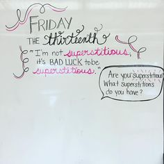 Friday the Thirteenth-white board messages Morning Activities, Writing Activities, Classroom Activities, Classroom Quotes, Writing Resources, Classroom Ideas, Friday Messages, Morning Messages, Daily Writing Prompts