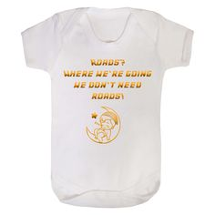 Beautiful Back To The Future Inspired supersoft feel body suit in a range of sizes from newborn to 24 months Polyester/ Cotton Baby Bodysuit with 3 poppers at the bottom. Machine washable and will retain shape. Back To The Future, Baby Grows, Baby Bodysuit, Kids Toys, Range, Shape, Inspired, Clothing, Cotton