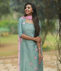 Aqua Green Chanderi Suit with Hand-Embroidery - Products Salwar Neck Designs, Kurta Neck Design, Kurta Designs Women, Latest Salwar Kameez Designs, Latest Salwar Suit Designs, Sleeves Designs For Dresses, Neck Designs For Suits, Dress Neck Designs, Blouse Designs