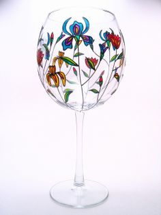 Hand Painted Wine Glasses Flowers | Hand Painted Wine Glasses-Spring Flowers