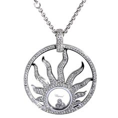 Chopard Diamond 18 K White Gold Happy Diamonds Sun Pendant Necklace