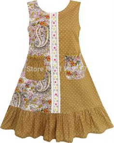 11.72$ Watch now - http://alipr5.shopchina.info/go.php?t=32486675321 - Sunny Fashion Girls Dress Asymmetry Design Flower Dot Bead Pockets Yellow Cotton 2017 Summer Princess Wedding Party Size 7-14 11.72$ #shopstyle