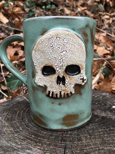 Ceramic Skull Mug in Turquoise by CrookedCuriosities on Etsy                                                                                                                                                                                 More