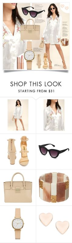 """Button Dress"" by fashionblogitaly ❤ liked on Polyvore featuring LULUS, Liliana, Quay, Furla, Phase Eight, Skagen and Ted Baker"