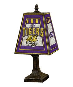 Light up a room by placing this lamp on any table or desk. It adds beauty, charm and school spirit to any interior with ease. LSU Tigers!