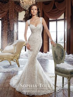 Kyle fishtail #weddingdress by Sophia Tolli 2015 collection