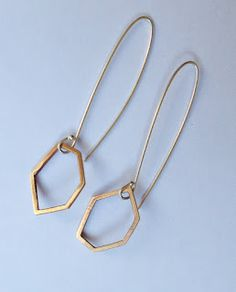 "Geomteric jewelry - Bronze geometric ""hexagonal"" earrings #geometric #jewelry #earrings"