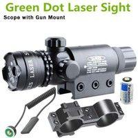 Wish   Green Dot Laser Sight Rifle Gun Scope w/ Rail & Barrel Mount Cap Pressure Switch (Color: Black)