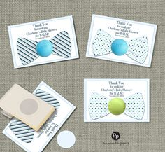 Bow Tie Baby Shower Gift Tags for EOS lip balm gifts | Thank You Tags | Baby Shower the Balm! | Blue Gray Green Favor Tags | BOW1-EOS1 by ThePrintablePapery on Etsy