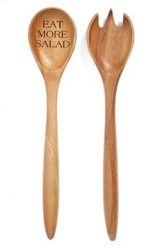 Milk and Honey Luxuries 'Eat More Salad' Wooden Salad Servers available at #Nordstrom