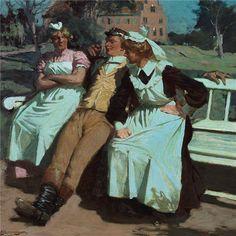 1907 г. Lund, Anton, Two Ladies, Antique Pictures, Ludwig, Realism Art, Van Gogh, Female Art, Art History