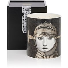 Fornasetti Armatura Grande Candle (2,400 SAR) ❤ liked on Polyvore featuring home, home decor, candles & candleholders, no color, black and white home decor, fornasetti, fornasetti candles, lilac scented candles and black white home decor