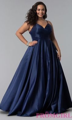 Plus-Size A-Line Long Satin Prom Dress with Pleats 21716683be3d