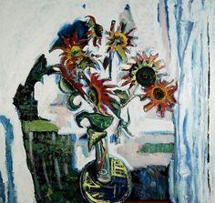 Bernard Chaet  Red Sunflowers, 1992-01 Oil On Canvas 34 in x 36 in #013432  LewAllen Galleries