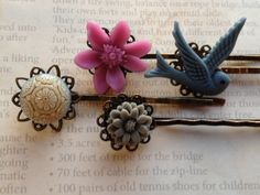 Accessories Hair Bobby Pins Flower Cabochon by HASJewelsbyShannon