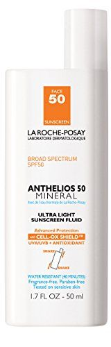 La RochePosay Anthelios 50 Mineral UltraLight Facial Sunscreen Fluid for Sensitive Skin Water Resistant with SPF 50 17 Fl Oz * Click image for more details.