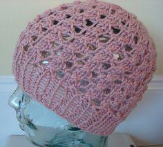 Hand Knit Open Weave HatLaney Hat in Petal by lalauradesigns. , via Etsy.
