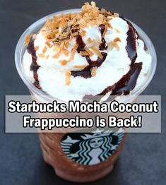 It's finally back! Starbucks Mocha Coconut Frappuccino is back in stores by popular demand. While supplies last! Starbucks Secret Menu Drinks, Starbucks Recipes, Starbucks Coffee, Coffee Recipes, Mocha Frappe Recipe, Mocha Frappuccino, Frappuccino Recipe, Cupcakes, Mocca