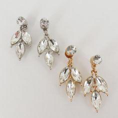 Ear Jacket Gold - Silver + Clear Leaf Ear Jacket Earring Double Sided Stud Mise En Fashion Peek A Boo Back + Front Paris Street Style Chic
