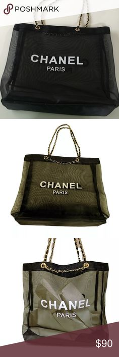 CHANEL PARIS VIP TOTE BRAND NEW MESH SEE THROUGH HUGE CHANEL PARIS TOTE. AUTHENTIC VIP GIFT. 17.5X13 inches. CHANEL Makeup Brushes & Tools