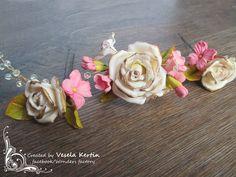 Polymer clay flower hair pins